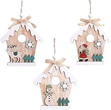3Pcs Painted Wooden Christmas Tree Pendants Christmas Room Shaped Wooden Pendants Christmas Closet Decor