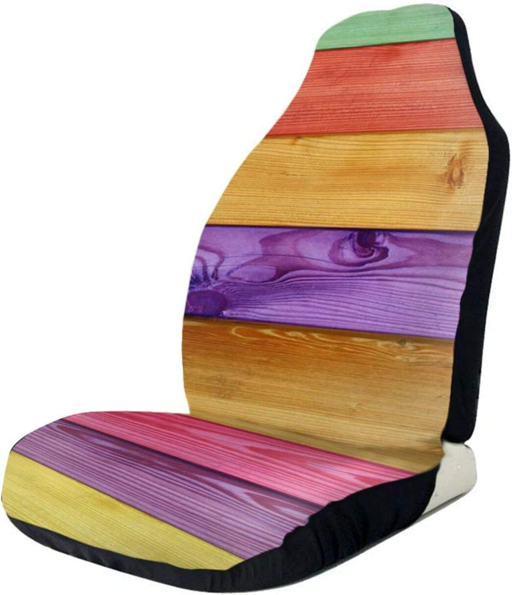 Rainbow Wooden Grunge Car Seat Cover Only Full Max 62% OFF Bucke Max 68% OFF Front Seats