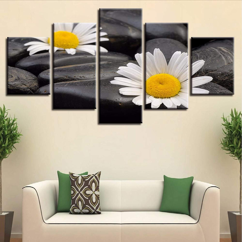 QThxqa Modular de la lona arte de la parojo fotos casa decoración marco 5 piezas Pequeñas Daisy pinturas habitación HD huellas piedra flores carteles