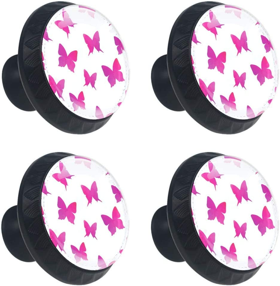 TIKISMILE Gifts Pink Butterfly Drawer Knob C Glass Pull Crystal Handle Manufacturer regenerated product