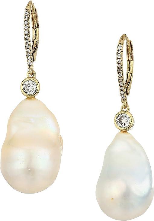 Gold/Baroque Pearl/White CZ