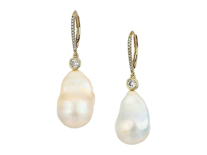 Nina  Baroque Pearl Earrings (Gold/Baroque Pearl/White CZ) Earring