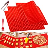 Silicone Baking Mats Sheet Cooking Mat Pyramid Large Set Non Stick For Barbecue Turkey Chocolate Molds Free Dishwasher Oven Microwave Safe (5 PCS, Red 2#)