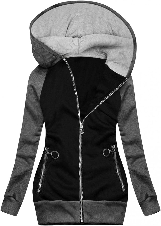 ManxiVoo Women's Zip Up Long Sleeves Hoodie Coat Color Blocking Hooded Sweatshirt Jackets with Zipper Pockets