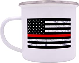 Firefighter The Thin Red Line Flag Camp Mug Enamel Camping Coffee Cup Gift Fire Fighter Department FD
