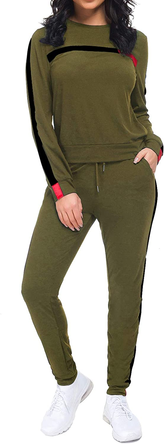 Fantasy Closet Women's 2 Pieces Outfits Top and Long Pants Sweatsuits Set Bodycon Tracksuits