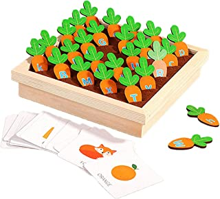 yotijay Baby Kid Montessori Toy Children Pulling Carrots,Picking Alphabet Matching Game,Early Learning Education Toy