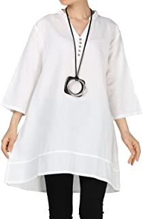 Mordenmiss Women's Cotton Linen Blouse V-Neck Tunic Tops 3/4 Sleeve Shirt Clothing