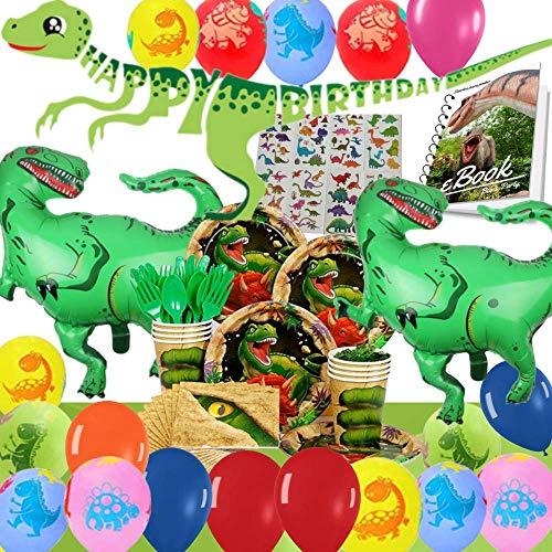 Bea's Party Cumpleaños infantiles decoración Fiestas de dinosaurios Set decoración cumpleaños dinosaurios para 16 invitados Adornos cumpleaños dinosaurios
