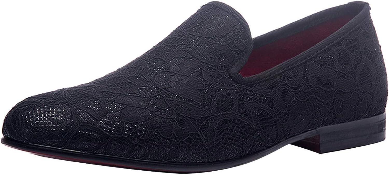 Skor för män sammet Slip Slip Slip on Loafers Klänning Smoking Slipper with Lace svart  upp till 60% rabatt