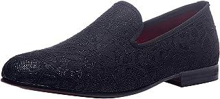 Chaussures Hommes Velvet Mocassin Slipper Slip on Casual Mariage Loafers en Dentelle Noir