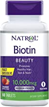Natrol Biotin Beauty Tablets, Promotes Healthy Hair, Skin and Nails, Helps Support Energy Metabolism, Helps Convert Food Into Energy, 10,000mcg, 60Count, Strawberry