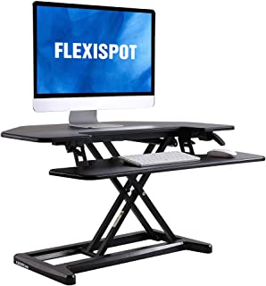 "FlexiSpot M7C Stand Up Desk Converter - 36"" Cubicles Corner Standing Desk Riser with Deep Keyboard Tray for Laptop"