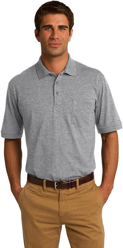 Port & Company 5.5-Ounce Jersey Knit Pocket Polo Shirt, Athletic Heather, XL
