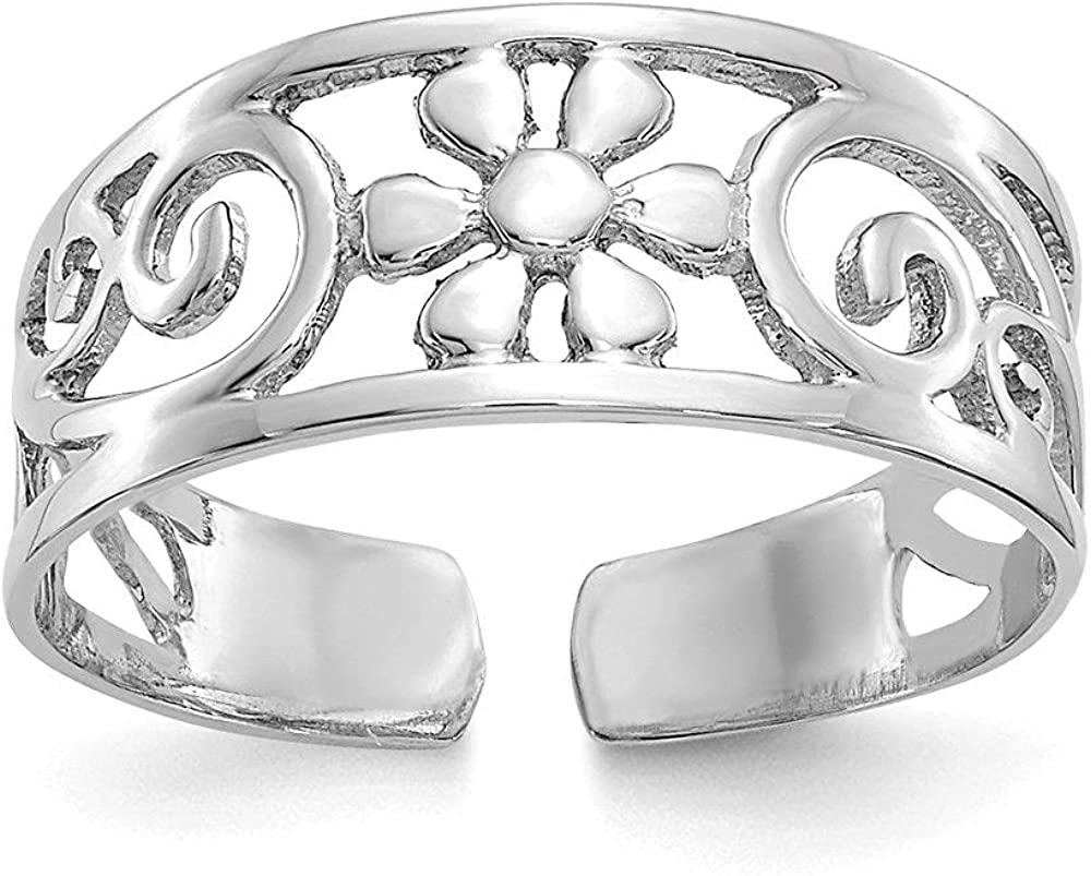 Jewelry-14k White Gold Floral Toe Ring