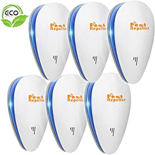 Ultrasonic Pest Repeller, 6 Packs, 2020 Upgraded Electronic Indoor Plug in for Insects, Mice,Ant, Mosquito, Spider, Rodent, Roach, Mosquito Repellent for Children and Pets' Safe [White]
