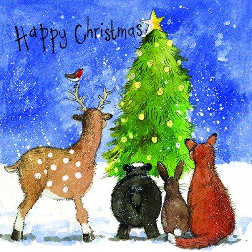 Alex Clark kerstboom kerstkaart Pack (Pack van 5 kaarten) kat het dragen van een kerstmuts afbeelding
