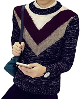 Loyomobak Mens Crew Jumper Long Sleeve Color Block Pullover Knit Sweater