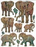 Los elefantes 11 piezas 1 11 hojas de pegatinas de coloures 135 mm x 100 mm adhesivo para Manualidades niños Metallic-look