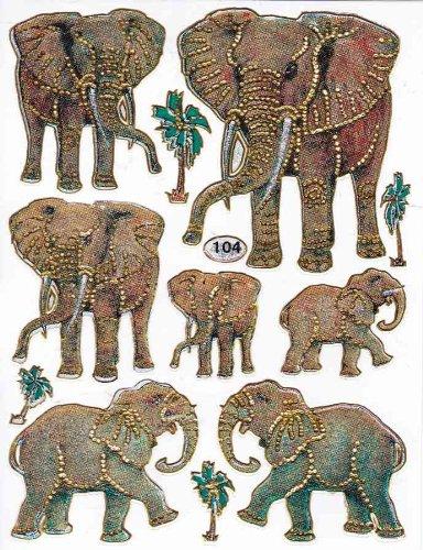 Elefanten Tiere bunt Aufkleber 11-teilig 1 Blatt 135 mm x 100 mm Sticker Basteln Kinder Party Metallic-Look