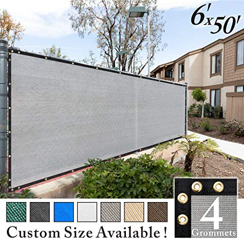 Royal Shade 6' x 50' Grey Fence Privacy Screen Windscreen Cover Netting Mesh Fabric Cloth - Get Your Privacy Today, Stop Neighbor Seeing-Through Stop Dogs Barking Protect Property WE Make Custom Size
