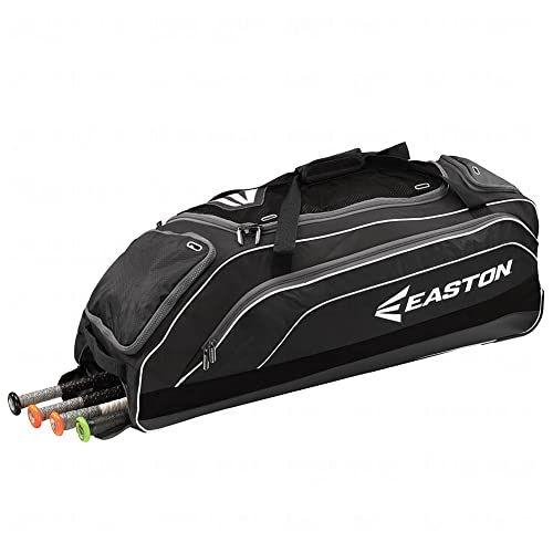 EASTON E700W Bat & Equipment Wheeled Bag | Baseball Softball | 2019 | 4 Bat Compartment | Vented Pockets - Minimize Odor & Quick Dry | Valuables Pocket | Lockable Zippered Pockets | Fence Hook