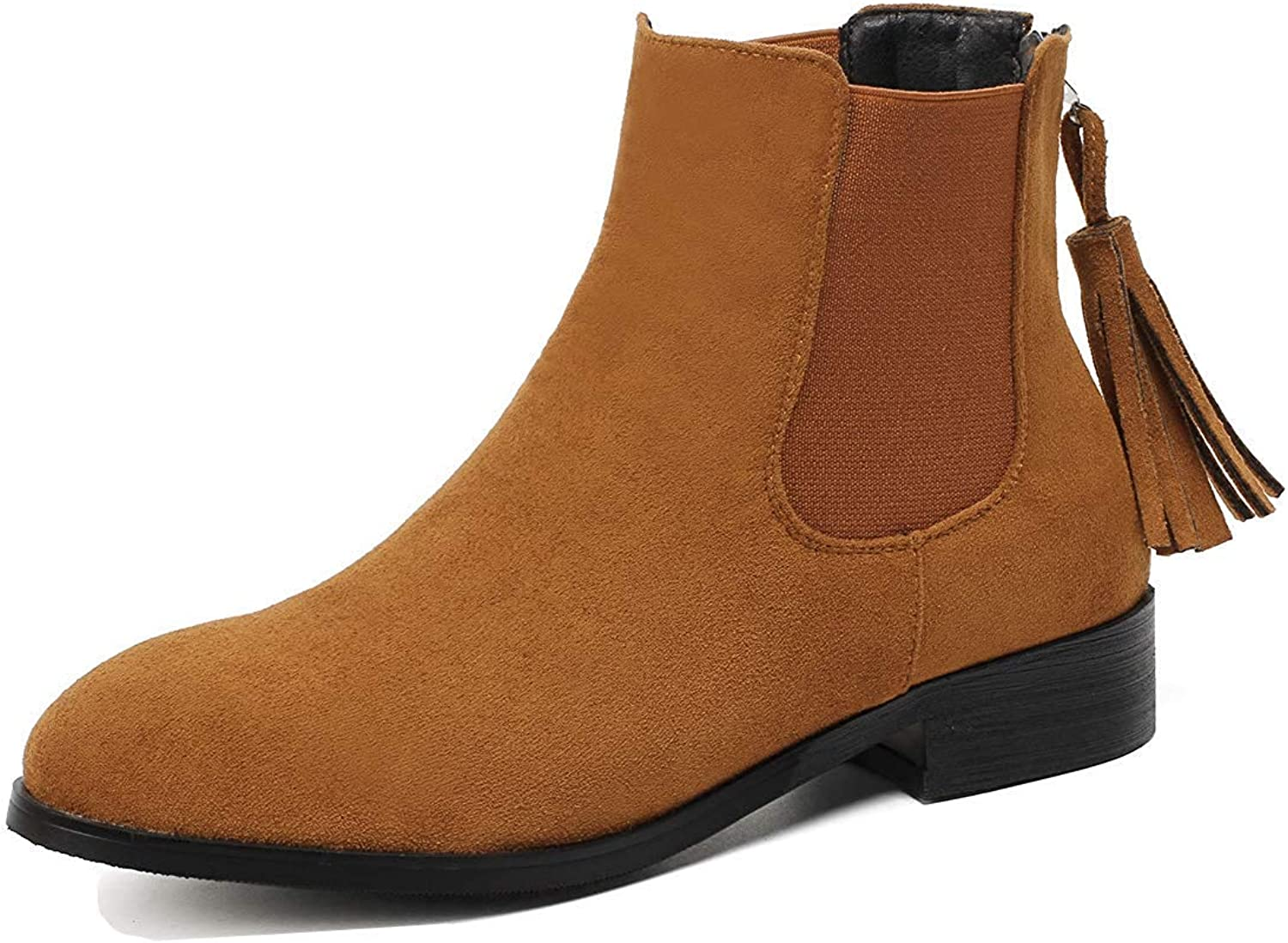 Women's Fringed Round Toe Short Chelsea Boots - Comfort Faux Suede Zip Up - Chunky Low Heel Ankle Booties