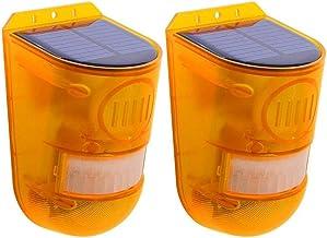 Cobeky 2 STKS Solar Strobe Licht, Solar Alarm Licht met Bewegingsmelder Solar Alarm Licht 129Db Geluid Security Sirene