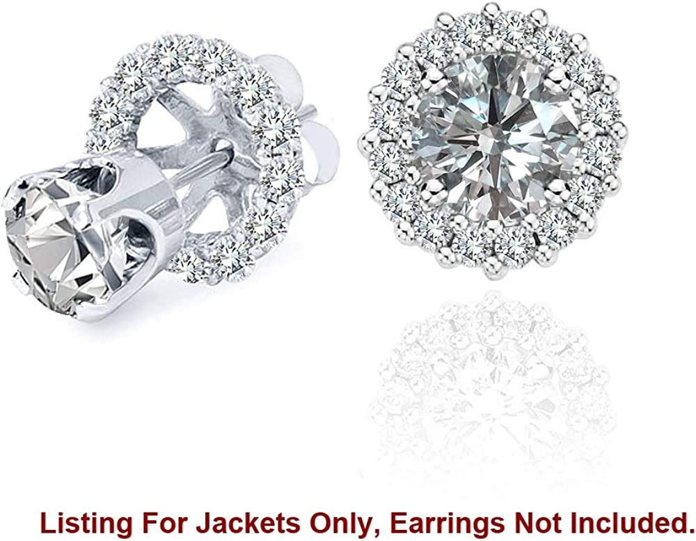 0.44 Carat White Diamond Earrings Jackets For 8 MM(4.00 Carat Total Weight) 14K White Gold Halo Stud Solitaire