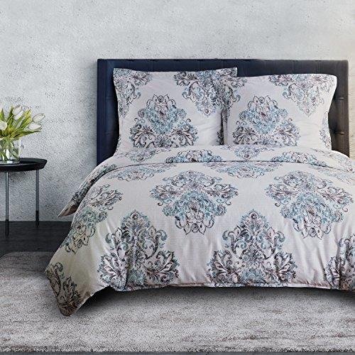 Bedsure Bettwäsche 135x200 cm Bettbezug Set mit Damast Muster, 2 teilig Retro Vintage Muster in Landhausstil warme& atmungsaktive Bettbezüge mit Reißverschluss und 1 mal 80x80cm Kissenbezug