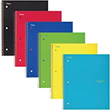 Five Star Spiral Notebook, Graph Ruled, 1 Subject, 8.5 x 11 Inches, 100 Sheets, Assorted Colors, Pack Of 6