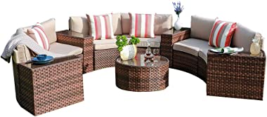 SUNSITT Outdoor Sectional Set 11-Piece Half Moon Patio Furniture Brown Wicker Sofa Beige Cushions with 4 Side Table and 4 Pil