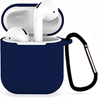 Compatible with Airpods 1/2 USB Wire Charging Silicone Case -[Support USB Wire Charging][Airpods 1/2 Fitting Tested][Extra Protection] with Anti-Lost Carabiner-Darkblue