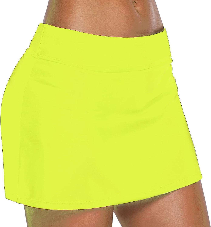 SPRING SEAON Womens Swim Skirt Low Waist UPF 50+ Bathing Suit A-Line Skirted Swimsuit Tankini Swimwear