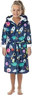 Honeystore Girls Boys Fleece Bathrobe Hooded Robe One Piece Pajamas Sleepwear TWQC-007 M(7-9 T)