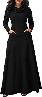 Women Cowl Neck Maxi Dresses Long Sleeve Loose Plain Maxi Dresses with Pockets