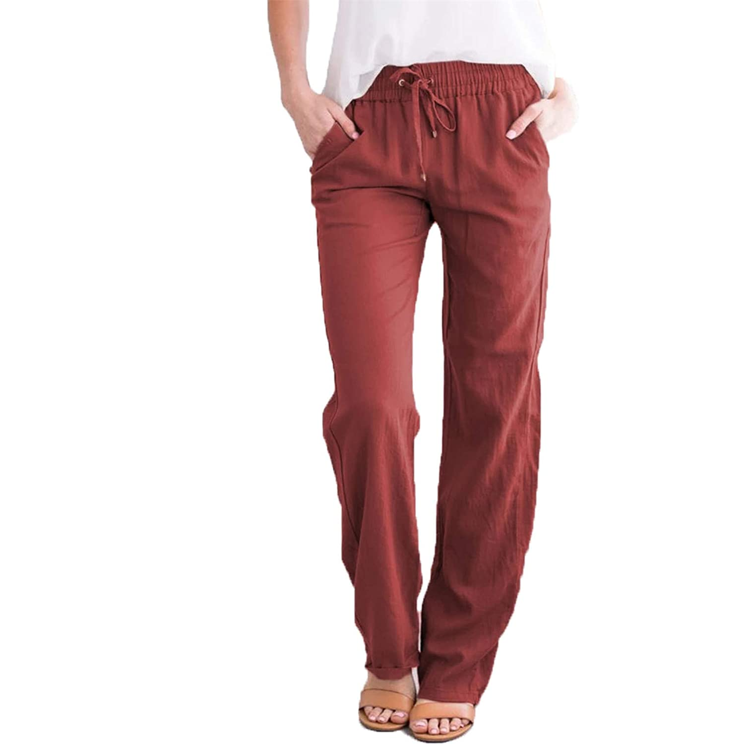 Women's Casual Linen Long Pants Cotton Wide Drawstring Pants with Pockets Elastic Waist Trousers (X-Large,Red wine)
