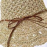Zun068 Sombrero de Paja con Flores de Gancho, Visera de Cuer