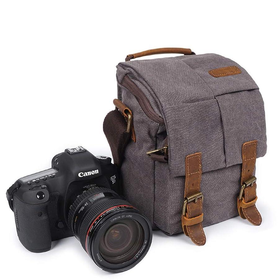 Vintage Small Canvas Waterproof Camera Shoulder Bag Camera Messenger Bag Padded Handbag Lens Bag for DSLR SLR Canon Nikon Sony (Light Grey)