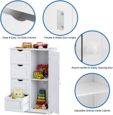 Giantex Bathroom Floor Cabinet Wooden with 1 Door & 4 Drawer, Free Standing Wooden Entryway Cupboard Spacesaver Cabinet,