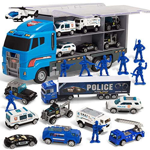 JOYIN 10 in 1 Die-cast Police Patrol Rescue Truck Mini Police Vehicles Truck Toy Set in Carrier Truck
