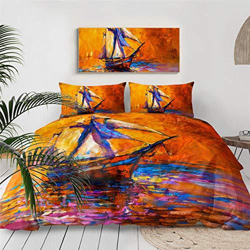 HXFJL Juego de cama de tres piezas velero pintura al óleo funda de edredón Sunset Seascape ropa de cama Yate barco moderno impresionismo colcha 135 x 210 cm