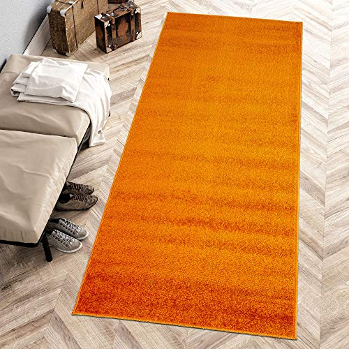 Carpeto Rugs Modern Läufer Flur Teppich Einfarbig Muster - Flauschige Flachflor Teppiche für Wohnzimmer, Schlafzimmer, Kinderzimmer - Kurzflor in Versch. Größen Pastell Farben Orange 80 x 300 cm