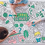 Tischdecke Einschulung zum Ausmalen | Thema: Yippie Schule | Papier Ausmaltischdecke Größe A0 | Geschenk-Idee Schulanfang, Schultüte Mädchen & Jungen, Deko