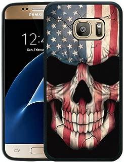 Galaxy S7 Case Black Customized Black Soft Rubber TPU Samsung Galaxy S7 Black Case (Not Fit for Galaxy S7 Edge) Flags & Skull Head