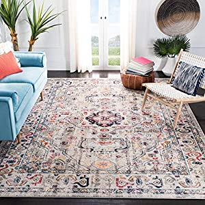 Safavieh Madison Collection MAD468F Boho Chic Medallion Distressed Non-Shedding Stain Resistant Living Room Bedroom Area Rug, 9′ x 12′, Grey / Blue