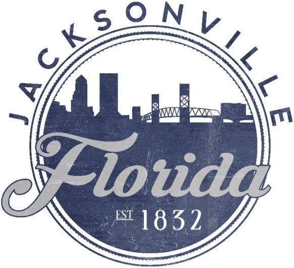 Jacksonville Florida - Skyline Genuine Mail order cheap Seal Galler 36x54 Giclee Blue