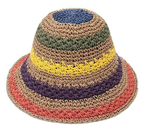 EOZY Mujer Sombrero de Paja Plegable Bohemia Sun Floppy Mujer Sombrero de la Playa ala Ancha para Viajes Vacaciones Verano