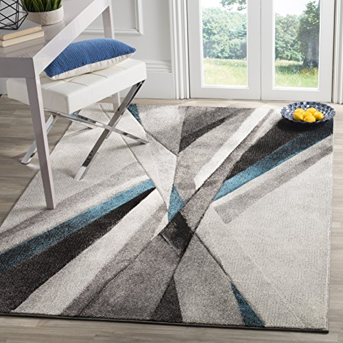 Safavieh Hollywood Collection HLW710D Modern Abstract Area Rug, 2′ 3″ x 4′, Grey/Teal