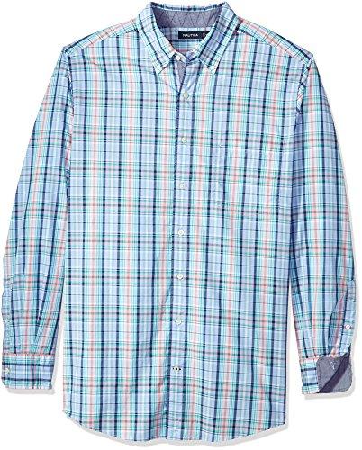 Nautica Camisa de manga larga grande y alta a cuadros con botones para hombre - azul - 4X Grandes-Alto